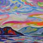 ORIGINAL Acrylic Painting Lake Okanagan From Peachland - 9x12 Colorful Lake and Sky Art