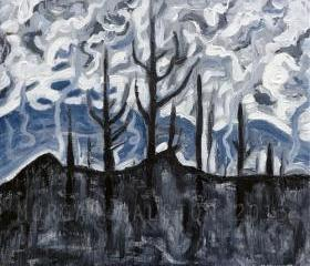 ORIGINAL Acrylic Painting - Charred Landscape - 12 x 12 - Deep Colored Landscape Art