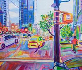 ORIGINAL Acrylic Painting - Wall Centre From Nelson And Burrard - 18x24 Colorful City Buildings art