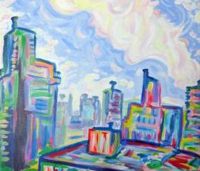 ORIGINAL Large Acrylic Painting - The West End - 24 x 36 Colorful Sky and City Art FREE SHIPPING