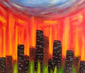ORIGINAL Large Acrylic Abstract Painting, City Of Fire - 24x36 FREE SHIPPING Colorful Sky Art