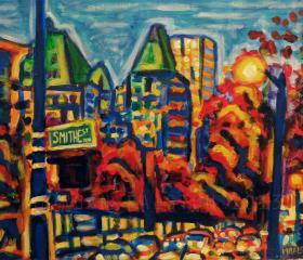 ORIGINAL acrylic painting on stretched canvas - Southbound Traffic - 14' x 18'