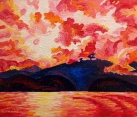 ORIGINAL Acrylic Painting - Red Mountain - 11x14 Warm Ocean Sky Art