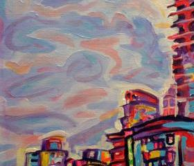 Original Acrylic Painting on Canvas - DeConstruction - 9x12 Colorful Cityscape Art