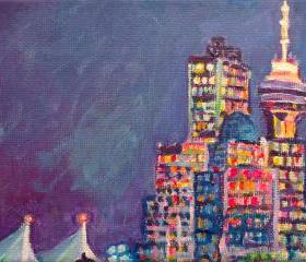  ORIGINAL Acrylic Painting - From Vancouver Harbour - 5x7 Colorful City Skyline Art